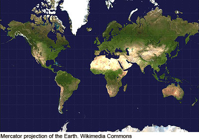 map of the Earth using the Mercator projection